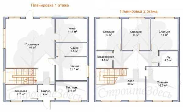 планировка первого этажа двухэтажного дома с лестницей