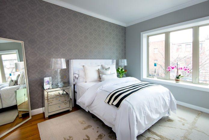 Серые обои в спальне (43 фото): дизайн интерьера с темно-серыми обоями, как подобрать шторы
