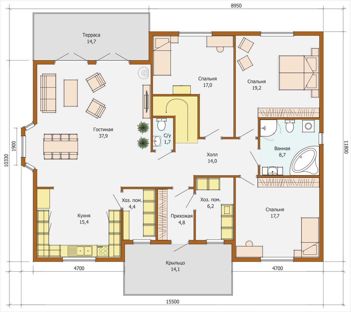 Самые популярные проекты домов 7 на 9 с мансардой: дом из блоков площадью 7х9 для постоянного проживания