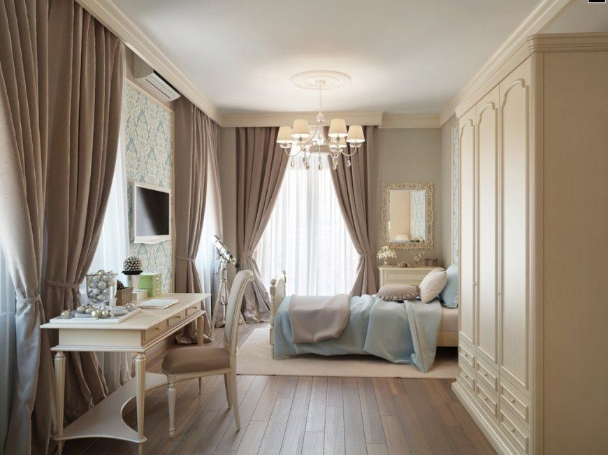Коричневые шторы в интерьере квартиры