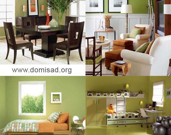 Оливковый цвет в интерьере - 67 фото примеров