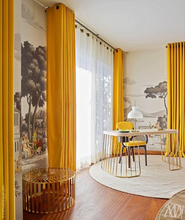 Желтые шторы - фото новинки стильного сочетания в интерьере