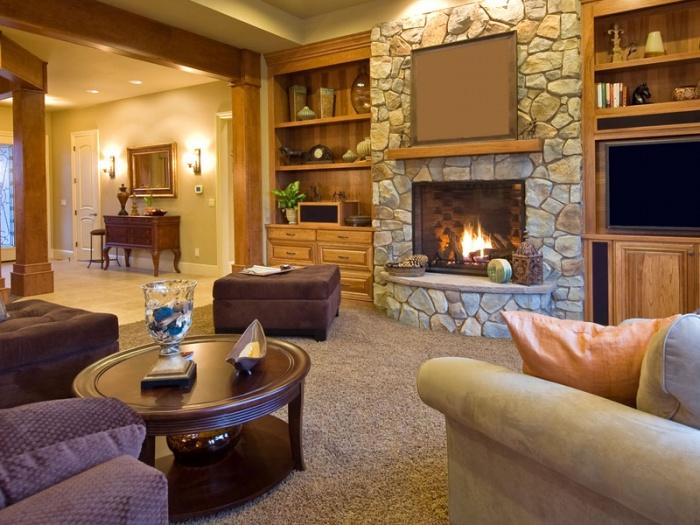 дизайн гостиной в частном доме недорого