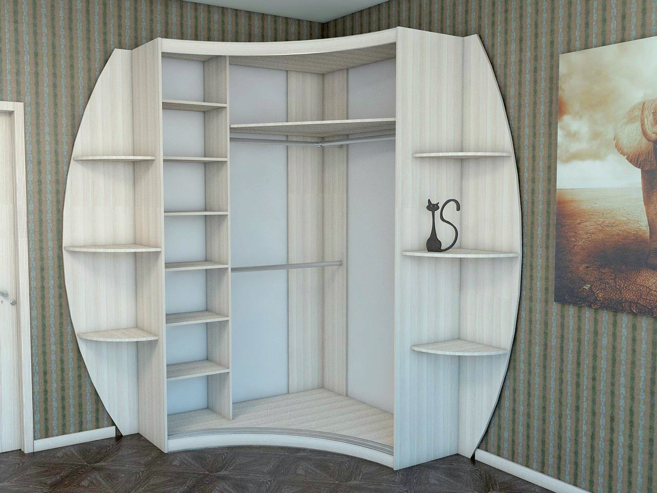 Радиусный угловой шкаф-купе: виды и обустройство