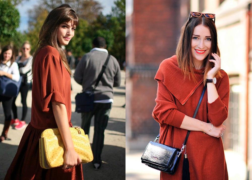 Терракотовый цвет – в одежде, платье, юбка, пиджак, брюки, свитер, костюм, куртка, пальто, шарф, сумка, маникюр, цвет волос