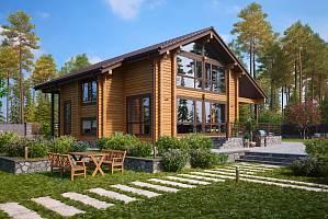 Интерьер деревянного дома из клееного бруса: внутренняя отделка в современном стиле, дизайн гостиной комнаты внутри от лучших дизайнеров   - 31 фото