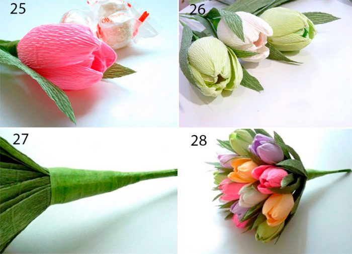 осенние цветы из гофрированной бумаги