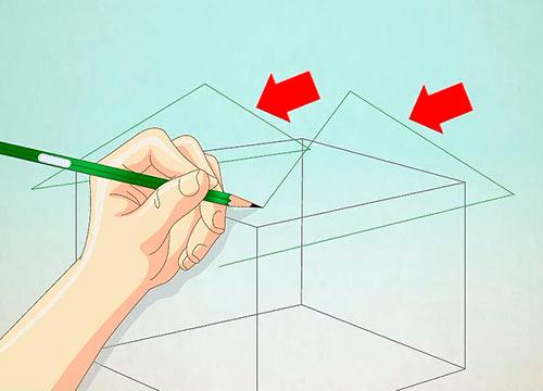 как нарисовать крышу дома