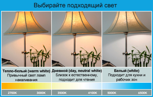 Теплый и холодный свет ламп: какой свет лучше