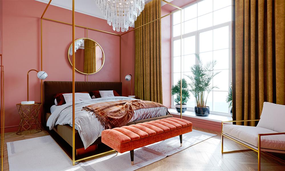 Обои розового цвета для спальни