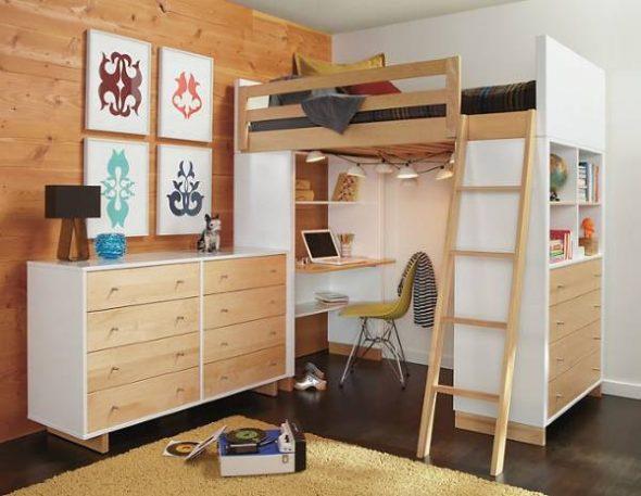 Двухъярусная кровать со столом в интерьере детской: виды, преимущества и правила выбора