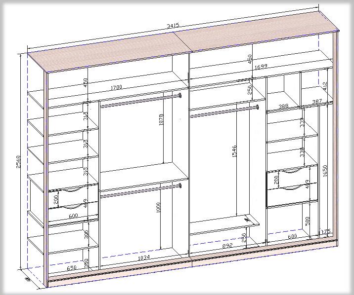 глубина встроенного шкафа