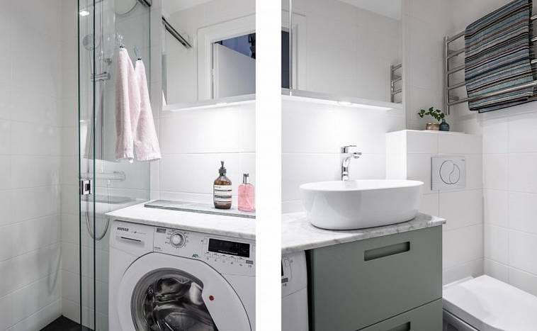 стиральная машина в ванной комнате дизайн