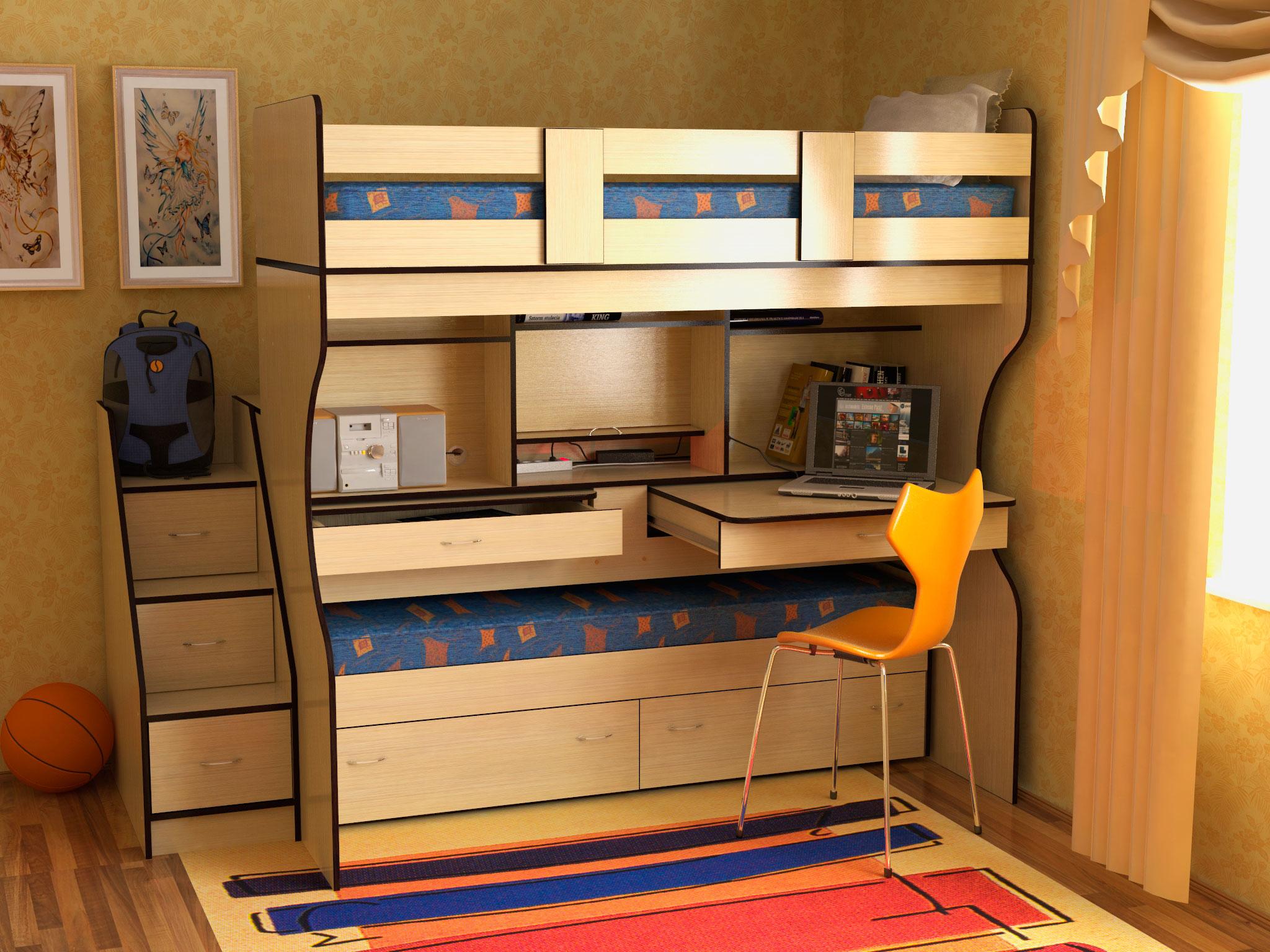 двухэтажная кровать со столом