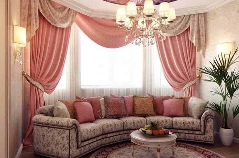 Двойные шторы в гостиную (42 фото): новинки дизайна штор в зал. современные кофейные и другие двойные шторы