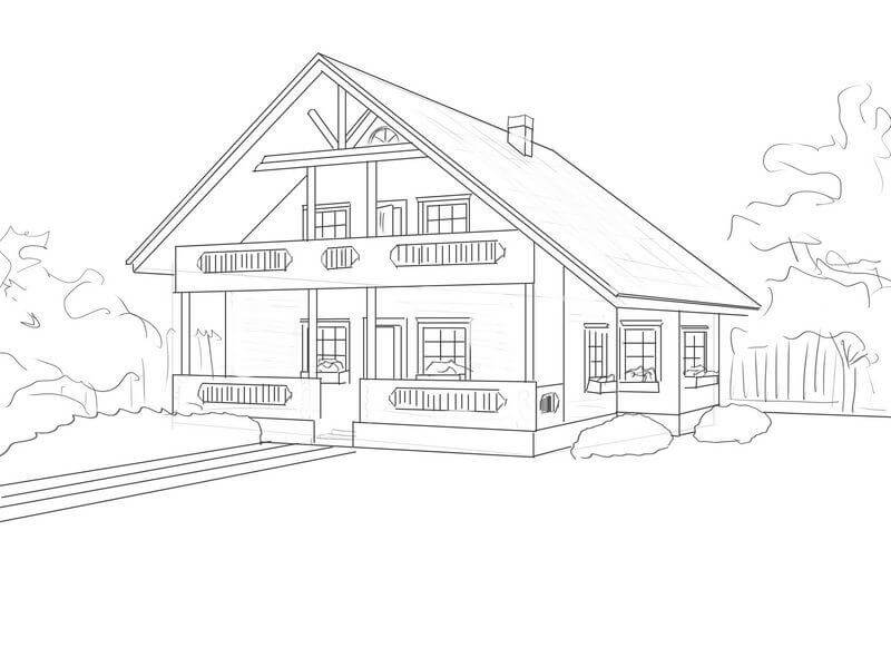 Как нарисовать дом карандашом поэтапно. дом рисунок двухэтажный