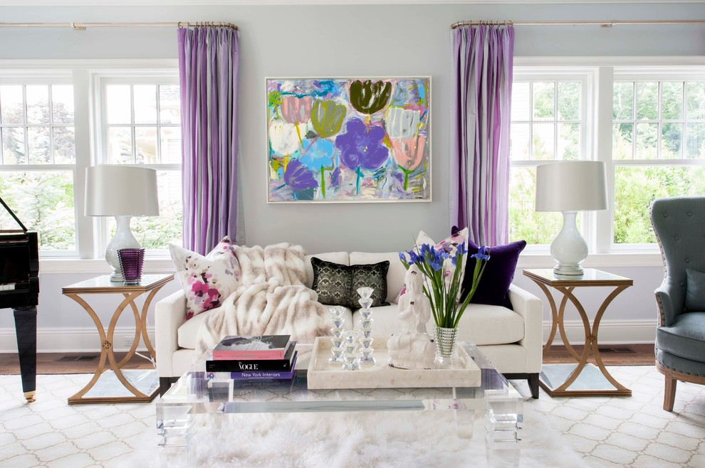Сиреневые шторы в спальне  (34 фото): занавески и вуали