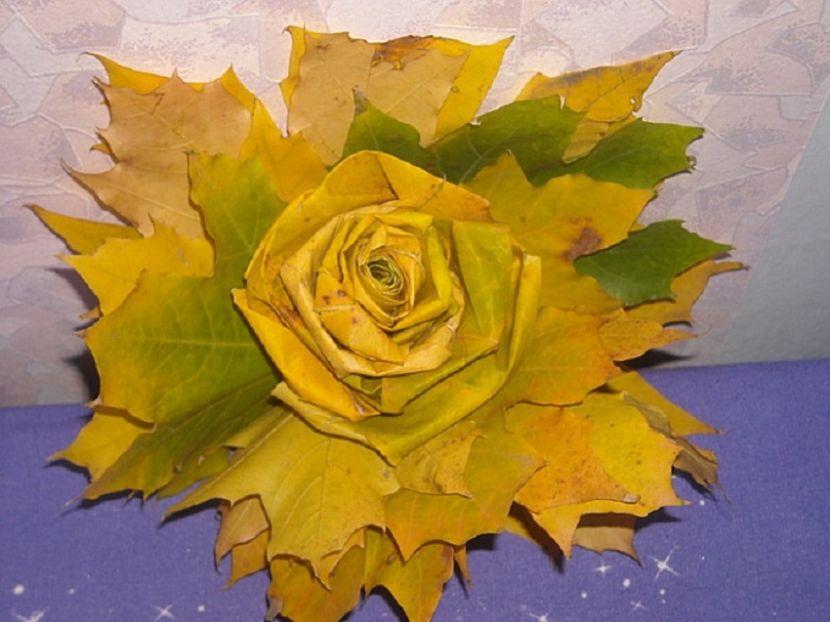 поделка из листьев на картоне
