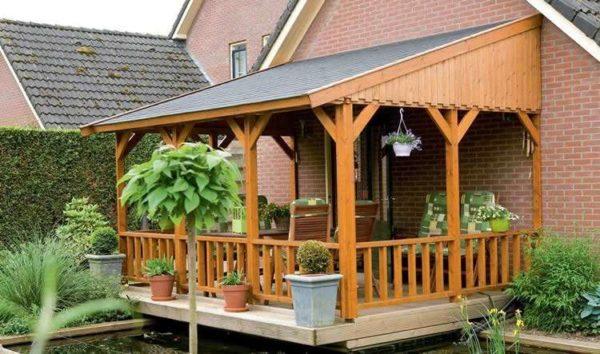 терраса к дому проекты из дерева