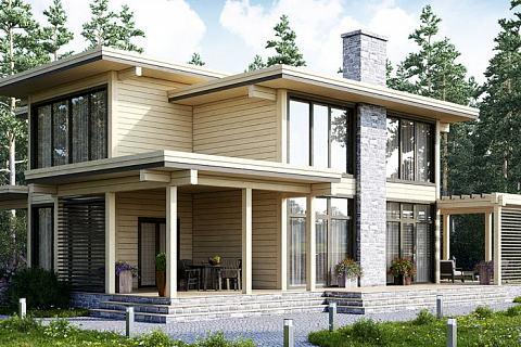 дизайн домов из клееного бруса