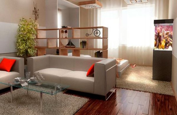 дизайн зала в однокомнатной квартире