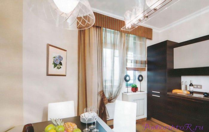 шторы для кухни совмещенной с гостиной фото