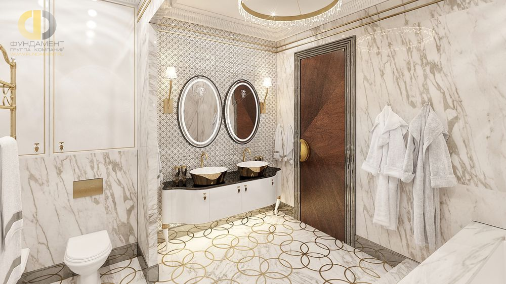 дизайн ванной комнаты плитка под мрамор