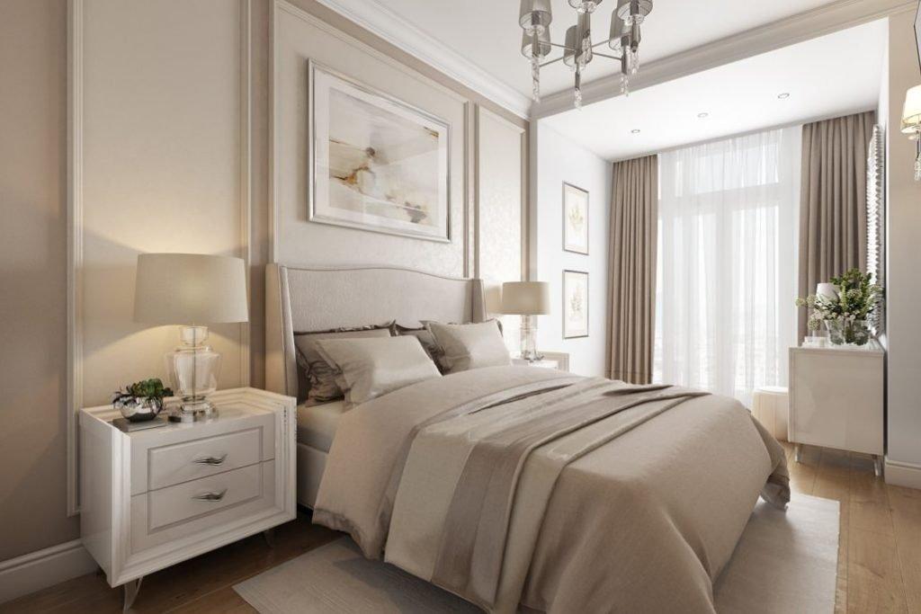 спальня в светлых тонах фото