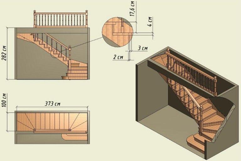 лестница на второй этаж для частного дома