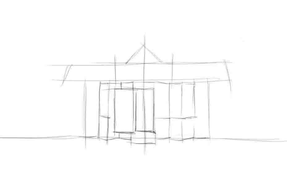 Как нарисовать красивый дом своей мечты карандашом поэтапно?