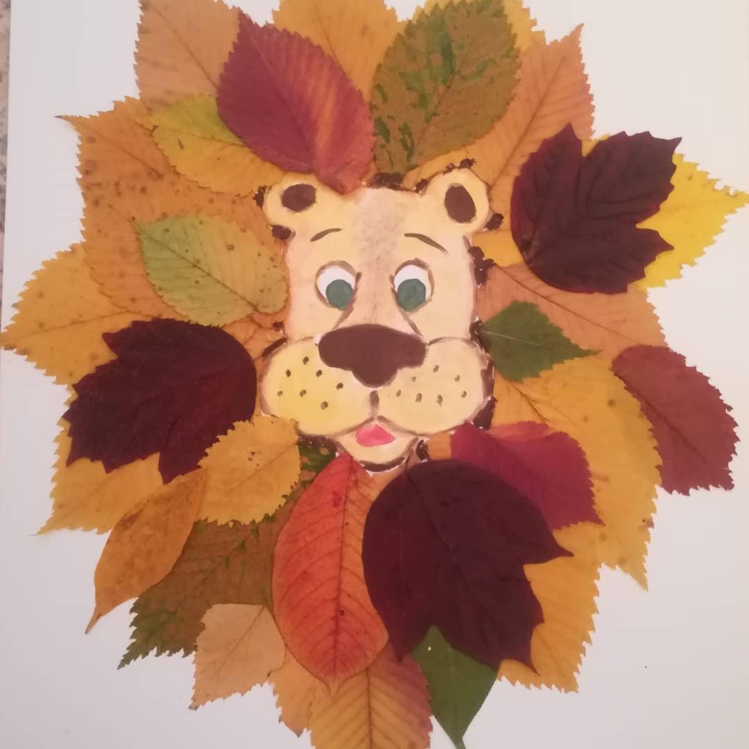 картины из осенних листьев для детей