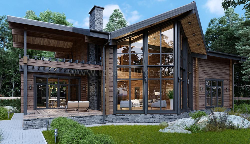 дома из клееного бруса с большими окнами