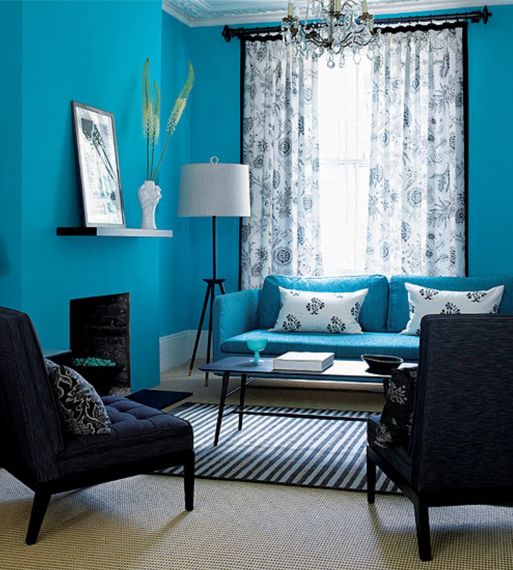 Синие шторы: фото в интерьере гостиной, на кухню, белые с синим