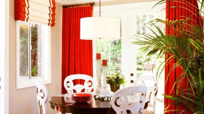 Красные шторы - 70 фото идеального сочетания в интерьере