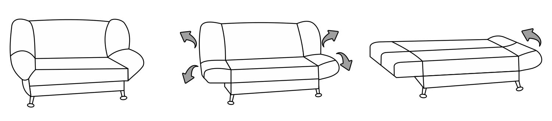 Разновидности диванов клик-кляк, особенности трансформации