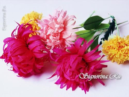 осенние цветы из гофрированной бумаги своими руками