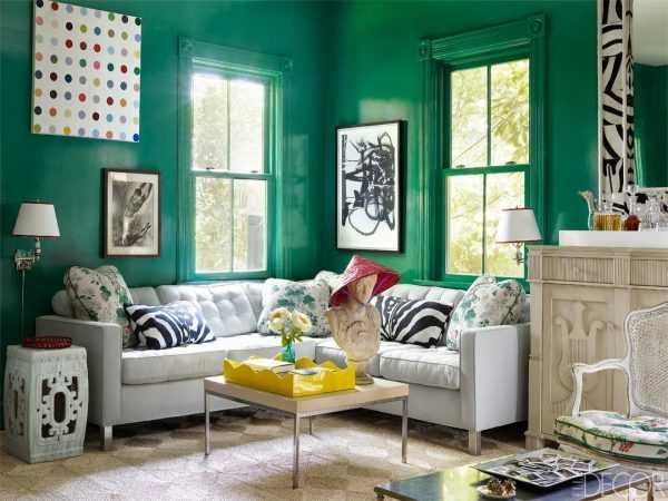Зеленый дизайн в вашей гостиной - 93 фото примера