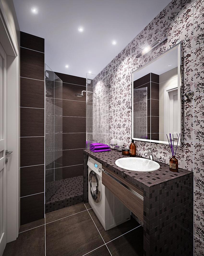 Дизайн ванной комнаты со стиральной машиной площадью 4 км. м