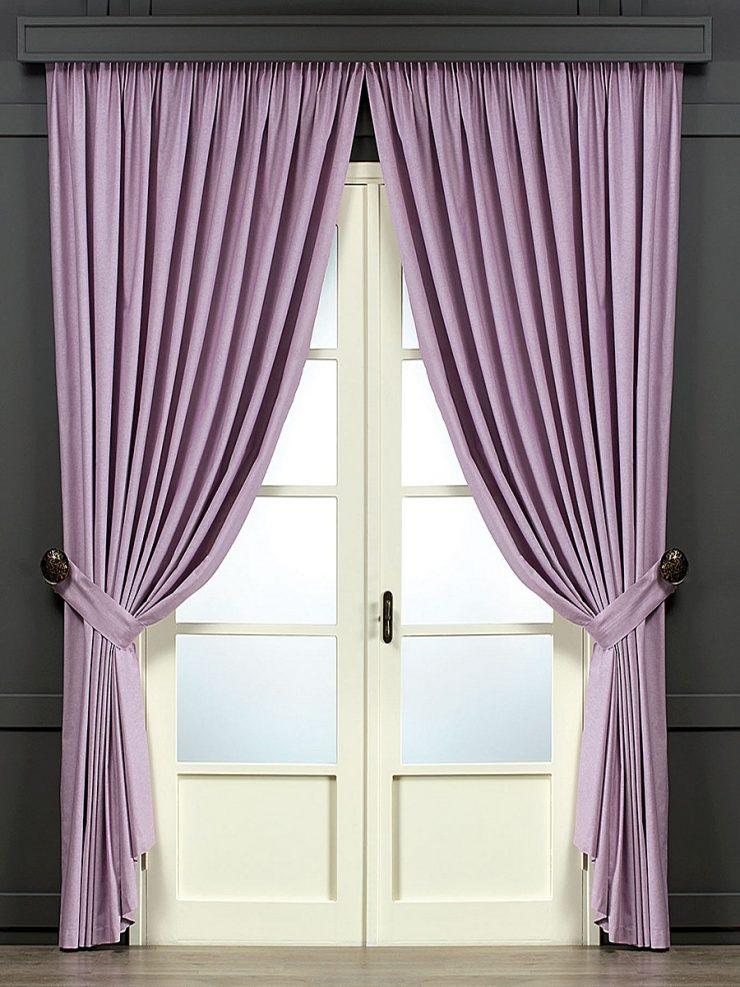 сиреневые шторы в гостиную