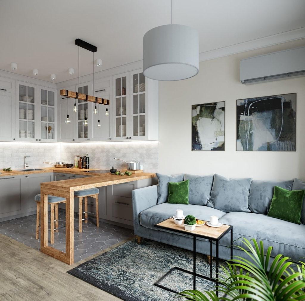 интерьер кухни гостиной в квартире