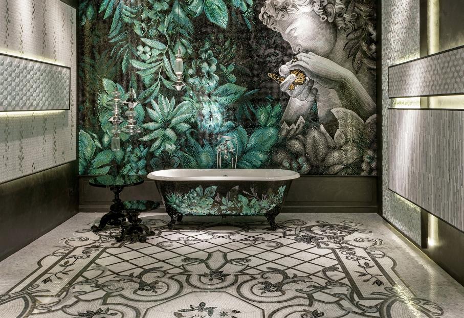 ванная комната мрамор и дерево
