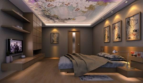 Натяжные потолки с фотопечатью двухуровневые тканевые с подсветкой для кухни и детской, глянцевый дизайн полотна с узором и орнаментом в зал и гостиную