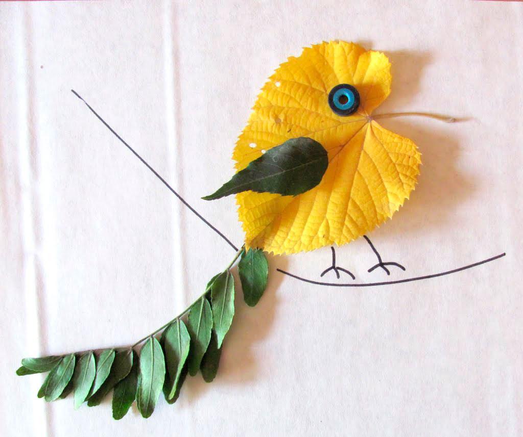 как сделать птичку из листьев