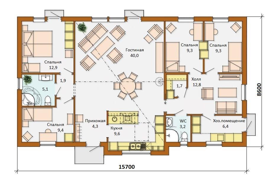Составление проекта дома с четырьмя спальнями