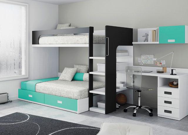 двухъярусная кровать со столом внизу
