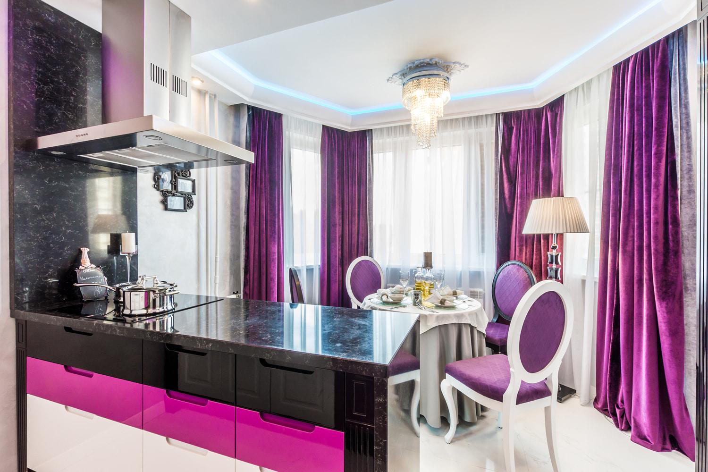 Фиолетовые шторы +75 примеров в интерьере