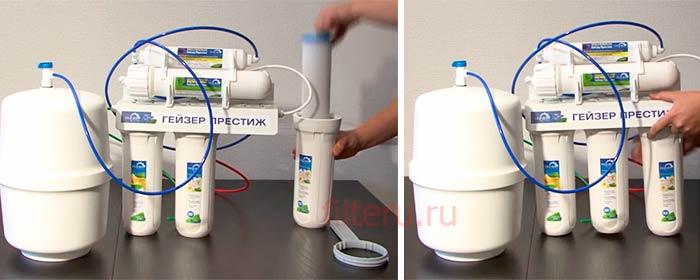 Фильтр гейзер престиж с обратным осмосом: отзывы, схема и инструкция подключения системы для очистки воды, как часто необходимо делать замену картриджей