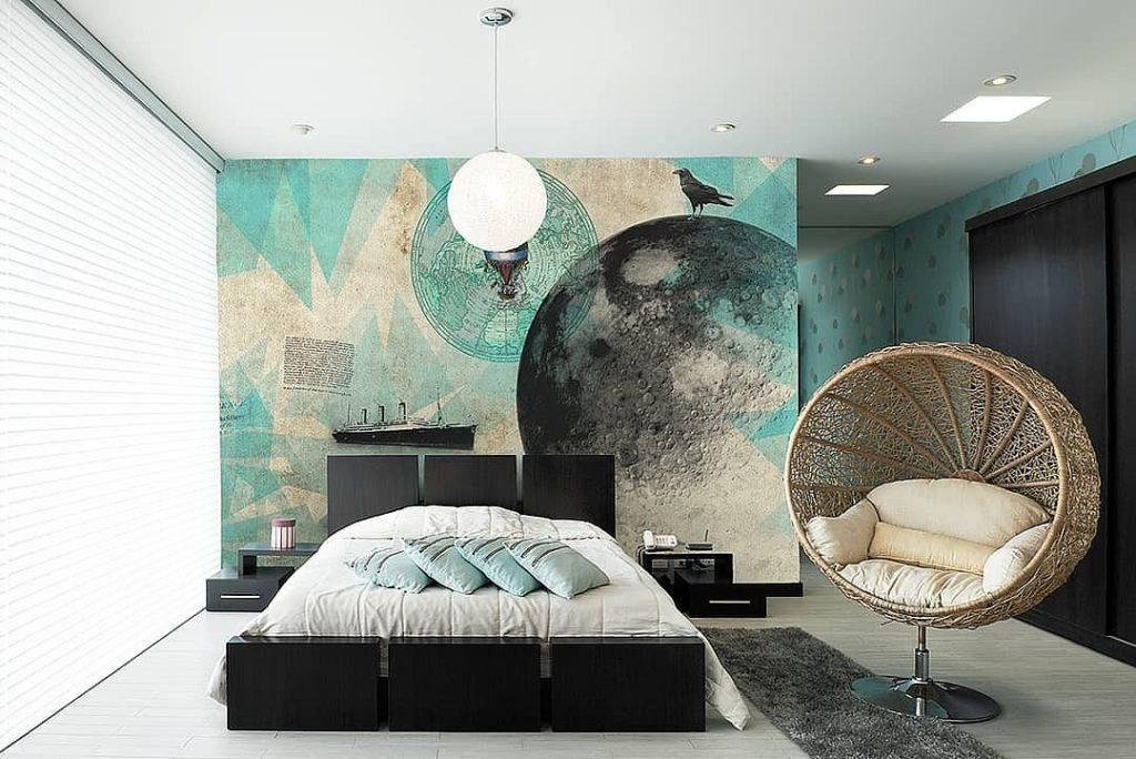 стены в спальне варианты отделки фото