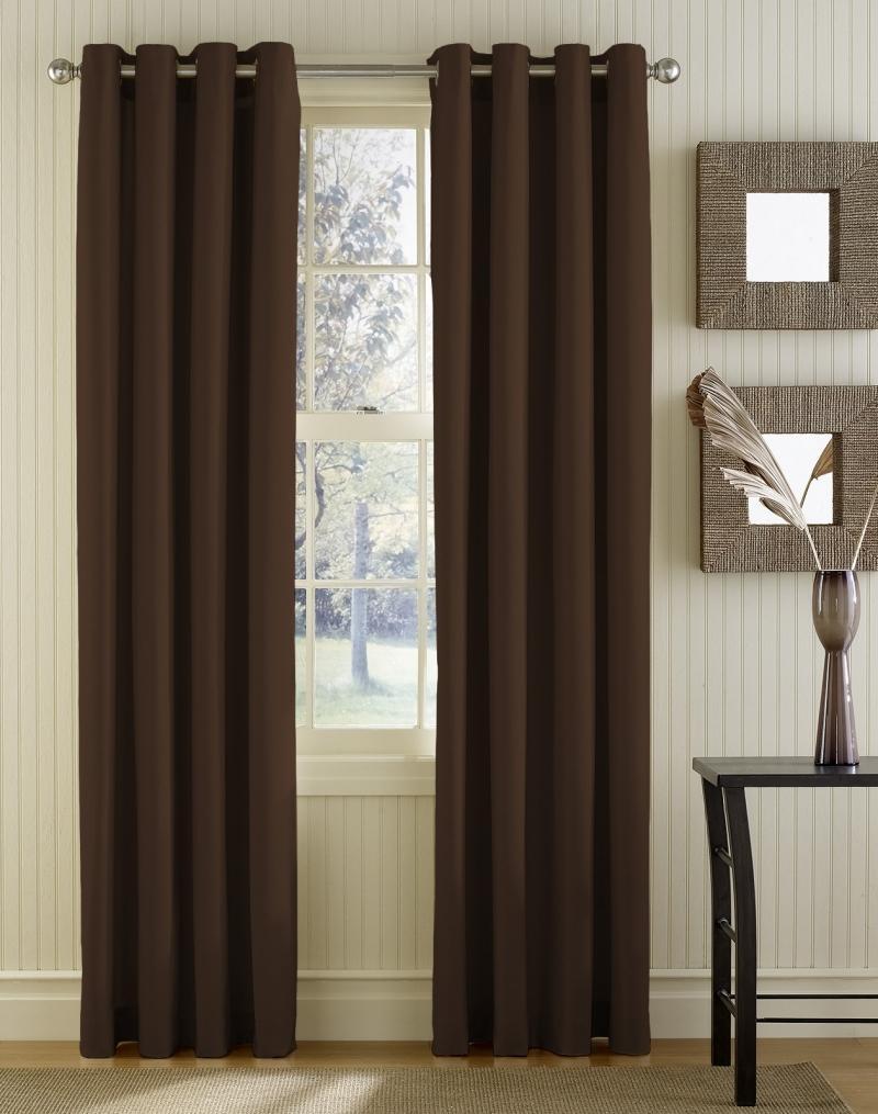 Коричневые шторы: фото в интерьере гостиной, в темную комнату, горчичного и других оттенков