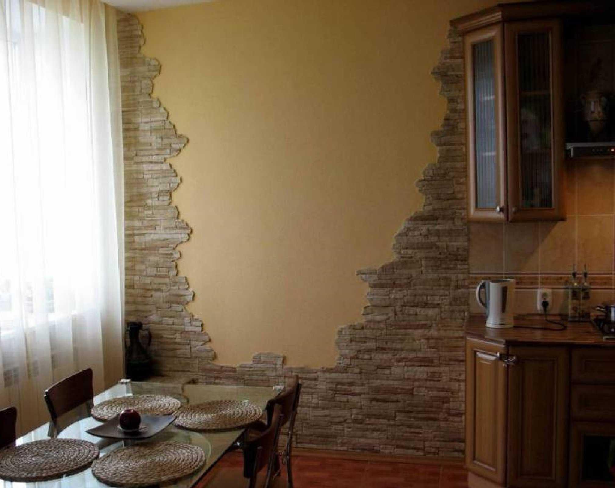 Декоративный камень в интерьере кухни +70 фото примеров отделки